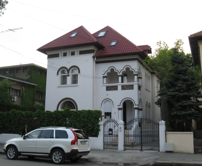 Renovated building in Bucharest, Romania. Brancovenesc style, the typical Romanian architecture between the Wars