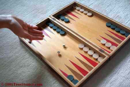 Backgammon game in starting position. Illustration for a mean but funny farce between pilots