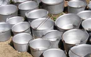 Cauldrons in an open air market, Romania